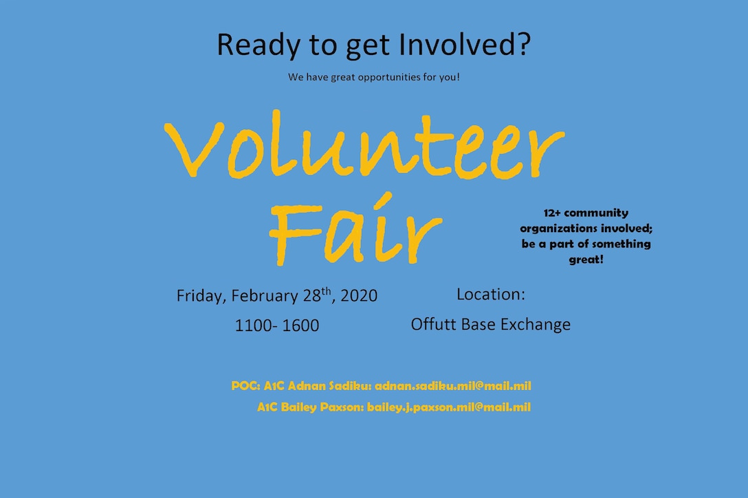 flyer describing volunteer fair at Offutt Air Force Base