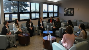 Photo of Leah Esper talk with Team Minot spouses