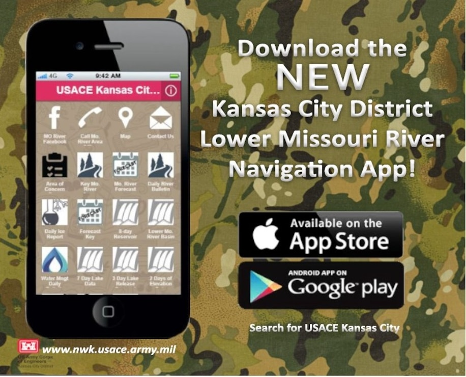 Download the NEW Kansas City District Lower Missouri River Navigation App on the Apple App Store and Google Play!