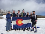 Members of the Colorado National Guard Biathlon Team hold a Colorado state flag at the completion of the 2020 National Guard Western Regional Biathlon Competition at Soldier Hollow, Utah, Jan. 6, 2020. The team expects to field a full roster of eight Soldiers to complete in the 2020 Chief National Guard Bureau Biathlon Championships March 1-5, 2020, at Soldier Hollow. (U.S. Army National Guard photo by Spc. Everett Darrow, Alaska National Guard)