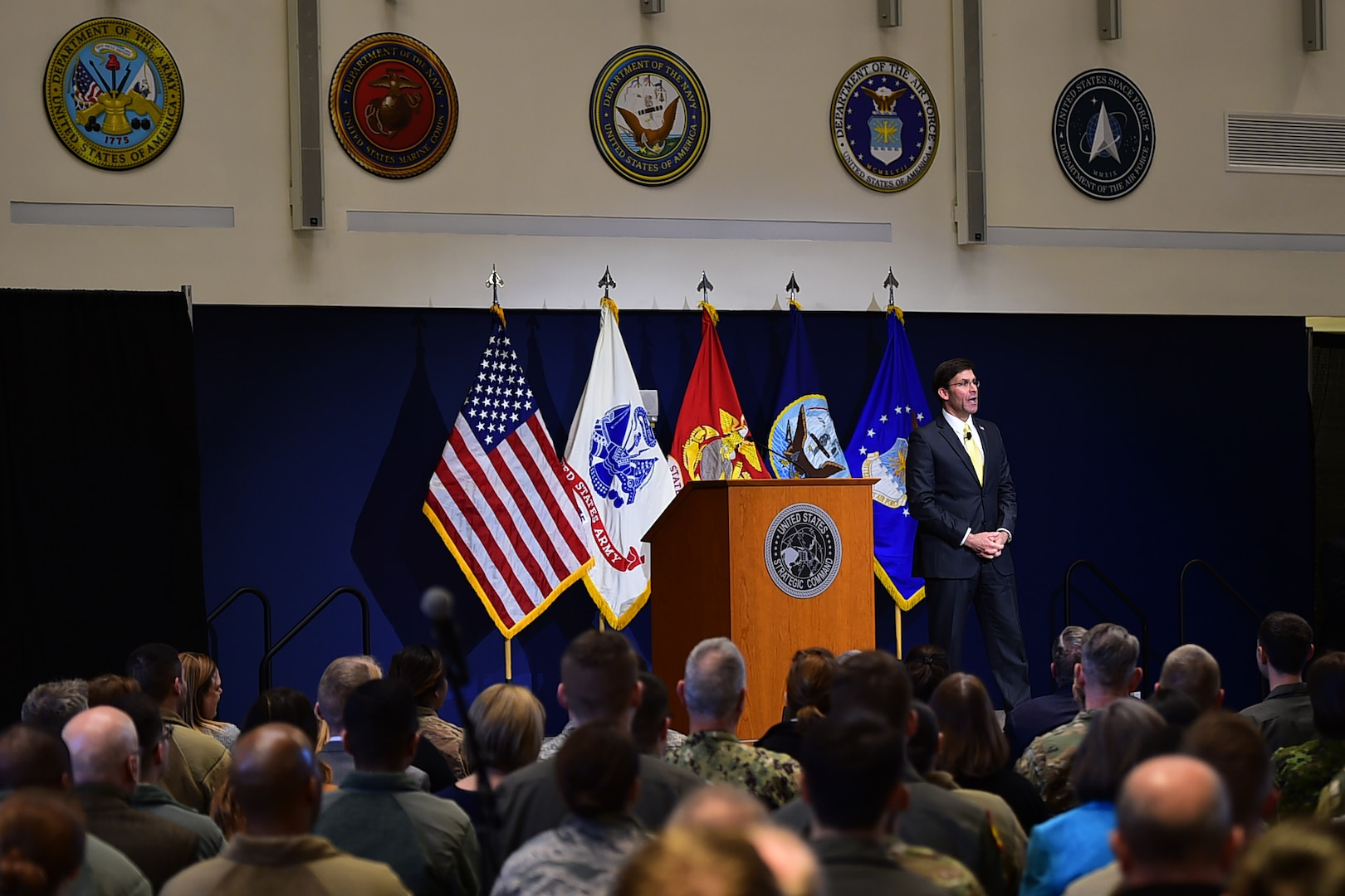 Secretary of Defense Dr. Mark T. Esper speaks to soldiers, sailors, airmen, Marines, civilians and spouses assigned to Offutt Air Force Base, Neb., during a town hall meeting at the U.S. Strategic Command (USSTRATCOM) Command and Control Facility, Feb. 20, 2020. During the event, Secretary Esper thanked USSTRATCOM, 55th Wing, tenant units, and their families for their service, and took their questions about a variety of topics on their minds, from the mission to supporting their families.