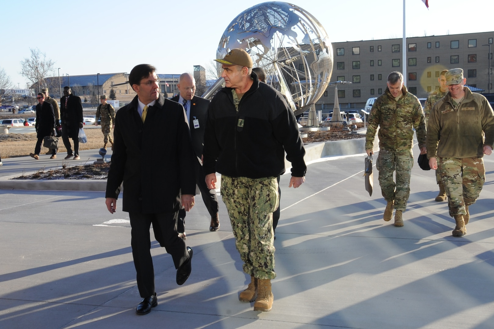 "U.S. Navy Adm. Charles ""Chas"" Richard, commander of U.S. Strategic Command (USSTRATCOM) escorts Secretary of Defense Dr. Mark T. Esper to USSTRATCOM headquarters at Offutt Air Force Base, Neb., Feb. 20, 2020. During his visit, Esper toured the command's global operations center and participated in discussions with Richard, other senior leaders and warfights on strategic deterrence in the 21st century."