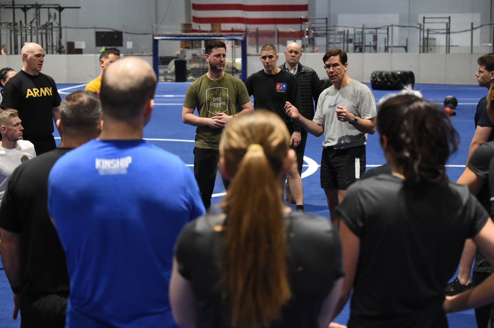 Secretary of Defense Dr. Mark T. Esper engages with U.S. Strategic Command (USSTRATCOM) and 55th Wing service members at the field house at Offutt Air Force Base, Neb., Feb. 20, 2020. Esper participated in circuit training with more than 40 USSTRATCOM and 55th Wing employees, following up the workout with a question and answer session.