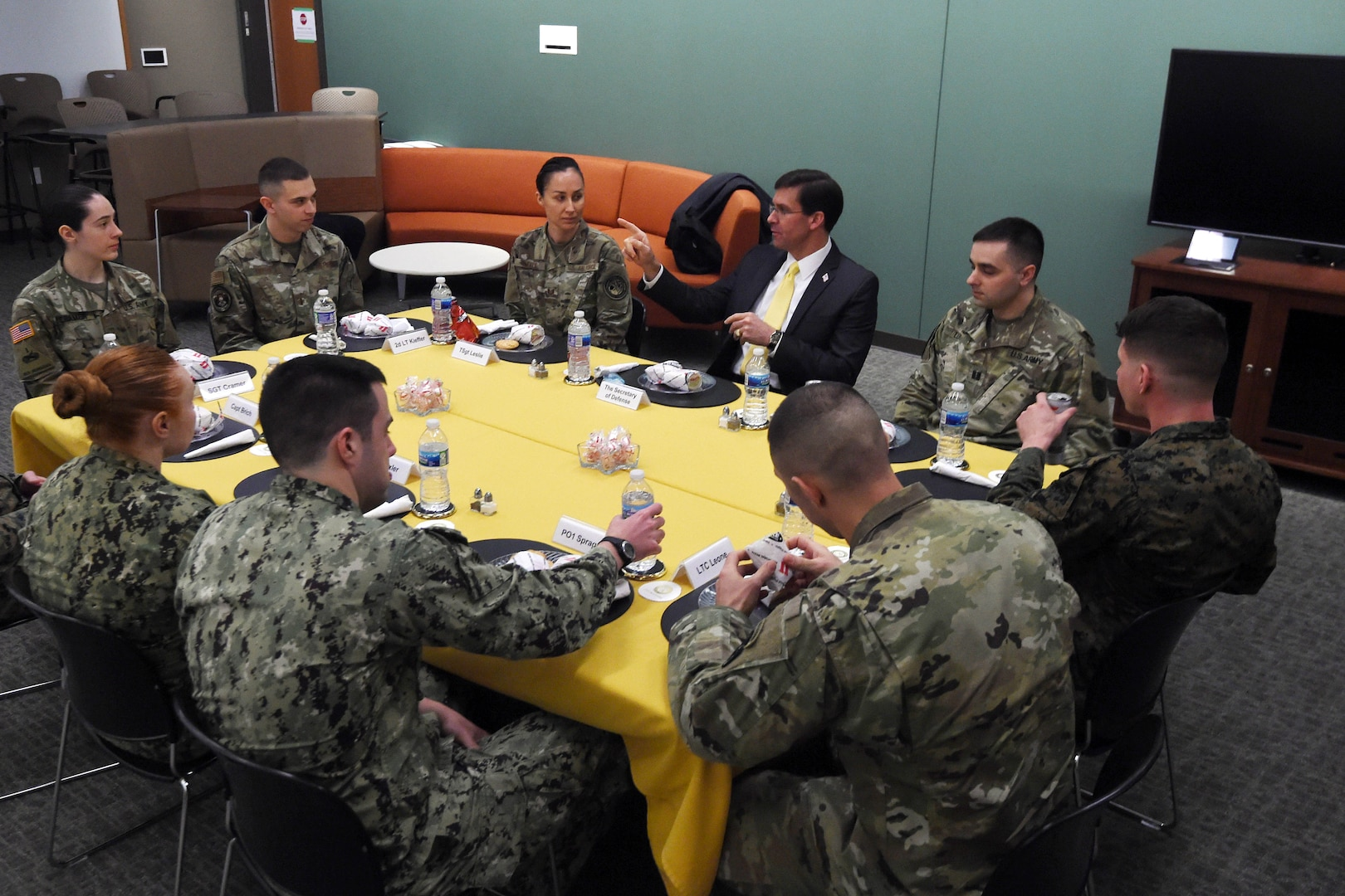 Secretary of Defense Dr. Mark T. Esper eats lunch with U.S. Strategic Command's (USSTRATCOM) junior officers and noncommissioned officers at the U.S. Strategic Command (USSTRATCOM) Command and Control Facility at Offutt Air Force Base, Neb., Feb. 20, 2020.  During his visit, Esper toured the command's global operations center and participated in discussions with senior leaders and warfighters on strategic deterrence in the 21st century.