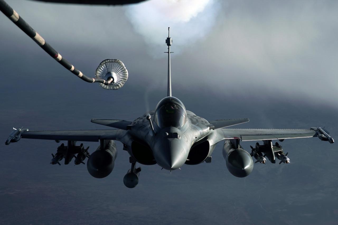 An aircraft moves through the sky.