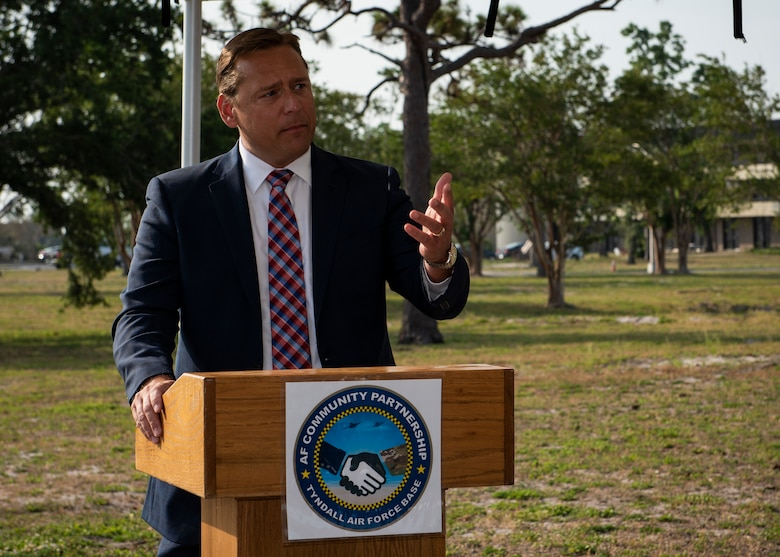 Chuck Purdue, Bay County tax collector, talks to base officials June 3, 2019, about the benefits of an agreement between Tyndall AFB, Florida, and the Bay County Tax Collector's Office  to bring a tax collector office to base. This is just one of many partnerships that benefits both the installation and the local community. (U.S. Air Force photo by Airman 1st Class Bailee A. Darbasie)