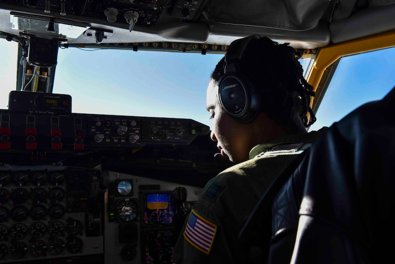 U.S. Air Force Capt. Jazmind Roberts, 93rd Air Refueling Squadron pilot, flies a KC-135 Stratotanker over Alabama, February 18, 2020. Roberts coordinated an all-black aircrew for a refueling mission to Maxwell Air Force Base,  Alabama, to refuel four F-16 Fighting Falcons from the Red Tail Squadron of the 187 Fighter Wing. (U.S. Air Force photo by Airman 1st Class Kiaundra Miller)