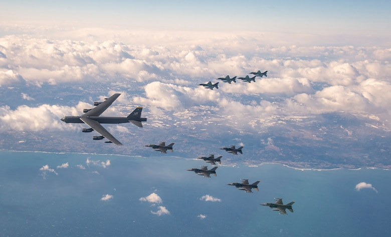 A U.S. Air Force B-52H Stratofortress from Minot Air Force Base, North Dakota, and six F-16 Fighting Falcons from Misawa Air Base, Japan, conduct bilateral joint training with four Japan Air Self-Defense Force F-2's off the coast of Northern Japan, Feb. 4, 2020.