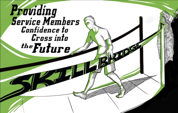 "Graphic show a person crossing a bridge and states ""Skillbridge: Providing service members confidence to cross into the future."""