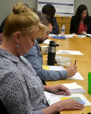 """Gail Kolb, a Defense Logistics Agency Troop Support Industrial Hardware employee, uses a """"benefit and effort matrix"""" to evaluate the impact and work needed to accomplish wellness goals during the IH Culture Improvement Team's first """"Wellness Wednesday"""" event Jan. 29, 2020, in Philadelphia."""