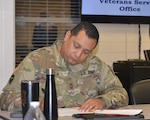 """U.S. Army Master Sgt. Josue Valencia, a native of Houston who retires next year, takes notes during the """"Your Pathways to Employment"""" workshop at the JBSA-Fort Sam Houston Military & Family Readiness Center Feb. 10."""