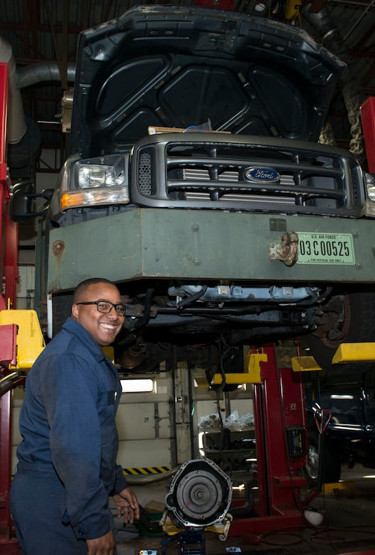 Airman 1st Class Tacito Castillo, 103rd Logistics Readiness Squadron vehicle maintenance specialist, repairs a truck at Bradley Air National Guard Base, East Granby, Conn. Nov. 3, 2019. Vehicle maintenance specialists perform scheduled maintenance and necessary repairs to Bradley's entire fleet of vehicles, ensuring readiness of organizations throughout the installation, including aircraft maintenance and fire and emergency services. (U.S. Air National Guard photo by Senior Airman Sadie Hewes)