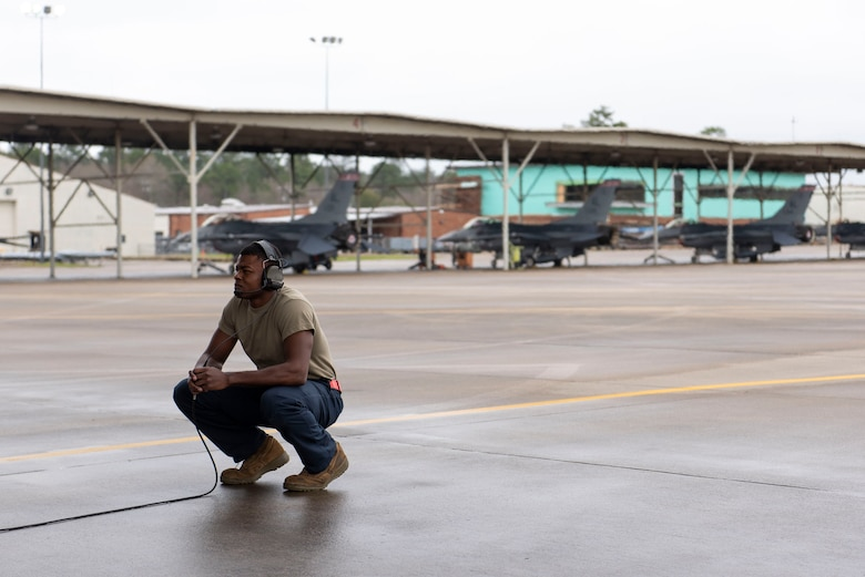 Photo of Airman First Class Jadin Jackson, a crew chief with the 187th Aircraft Maintenance Squadron.