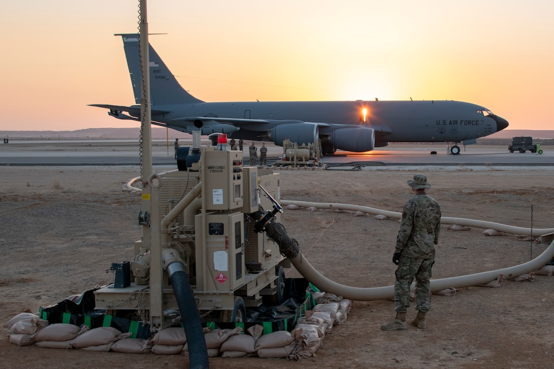 Expeditionary Logistics Readiness Squadron refuels a KC-135 Stratotanker
