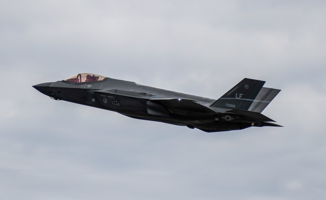 An F-35A Lightning II from Luke Air Force Base, Arizona, takes off from Dover AFB, Delaware, Feb. 19, 2020. Two F-35As recently returned from participating in the HX Challenge held near Tampere, Finland. During the HX Challenge, five different aircraft were tested for seven days, in Finnish weather conditions, to assess their ability to replace the current fleet of Finnish air force FA-18C and FA-18D Hornets. (U.S. Air Force photo by Senior Airman Christopher Quail)