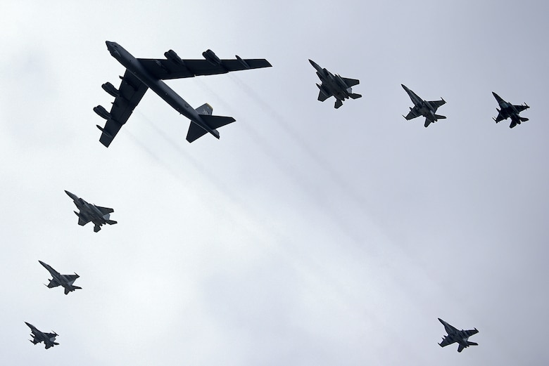 Aircraft fly in formation during exercise Cope North 20