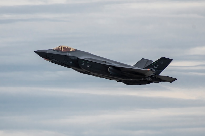 An F-35A Lightning II takes off