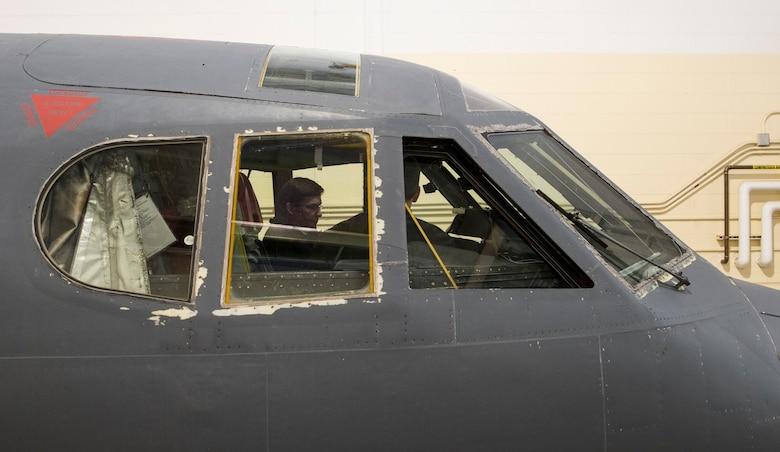 Secretary of Defense Mark Esper tours a B-52H Stratofortress