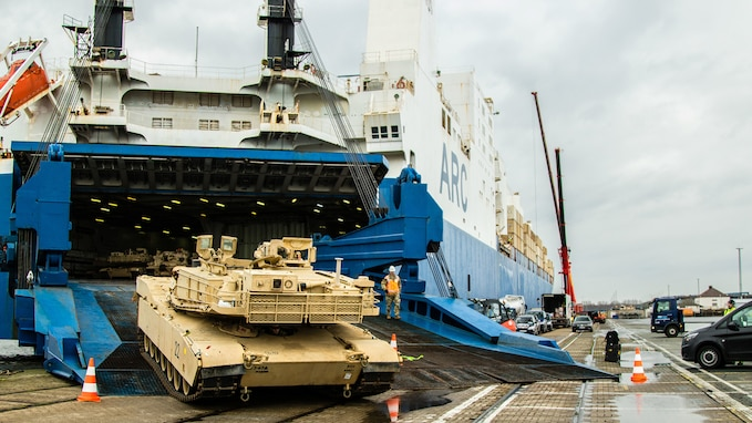 DEFENDER-Europe 20 equipment arrives at Bremerhaven, Germany