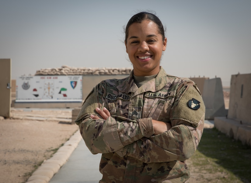Sgt. Shanice Buckhalton is currently deployed to the Middle East as an administration non-commissioned officer with the Headquarters Support Company, 834th Aviation Support Battalion, 34th Expeditionary Combat Aviation Brigade.
