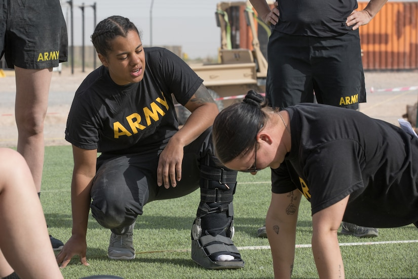 As a level one grader for the Army Combat Fitness Test (ACFT), Sgt. Shanice Buckhalton helped to lead an ACFT familiarization workshop for the Headquarters Support Company, 834th Aviation Support Battalion, while deployed to the Middle East on February 8, 2020.