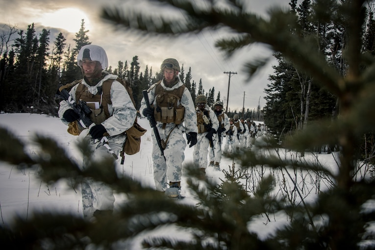 Marines wearing snow gear hike in the woods.