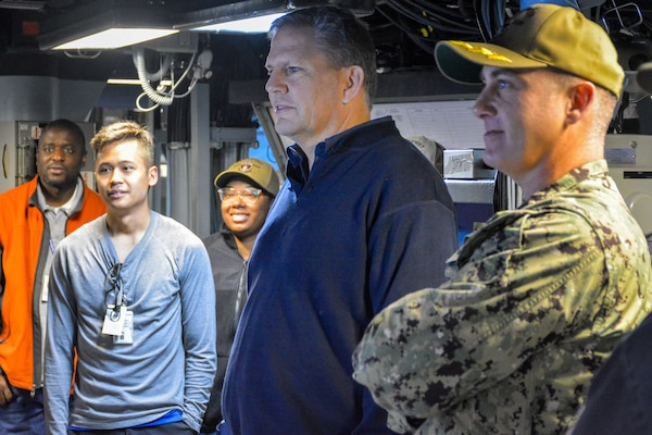 James F. Geurts, assistant secretary of the Navy for research, development and acquisition (ASN RDA), recently visited the USS Dewey (DDG 105) and spoke to the ship's company about the quick progress made on the ODIN installation.