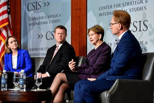 Secretary of the Air Force Barbara M. Barrett, second from right, delivers remarks during a panel discussion with Army Secretary Ryan McCarthy, second from left, and acting Navy Secretary Thomas Modly, right, hosted by Kathleen Hicks, left, senior vice president of the think tank Center for Strategic and International Studies, at the center in Washington, D.C., Feb. 21, 2020. The service secretaries discussed their respective department's posture and budget proposals. (U.S. Air Force photo by Eric Dietrich)