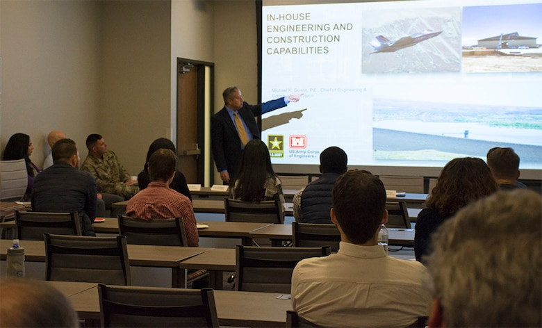U.S. Army Corps of Engineers-Albuquerque District Engineering and Construction Division Chief Michael Guerin gives a presentation to University of New Mexico students about his division's capabilities and opportunities during a STEM outreach event hosted by the U.S. Army Corps of Engineers-Albuquerque District at the USACE-Albuquerque District headquarters office, Feb. 20, 2020.