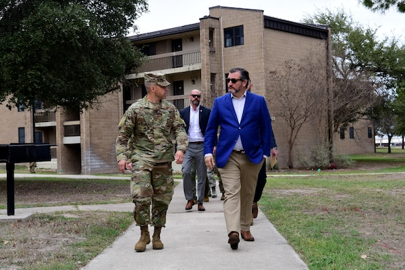 Sen. Ted Cruz of Texas tours Laughlin's enlisted dormitories with Col. Lee Gentile, the 47th Flying Training Wing commander, on 20 Feb, 2020 at Laughlin Air Force Base, Texas. During his visit, Sen. Cruz was given a tour of lower enlisted dorm facilities and given a summary of proposed changes and plans for the dorms. (U.S. Air Force photo by Senior Airman John A. Crawford)