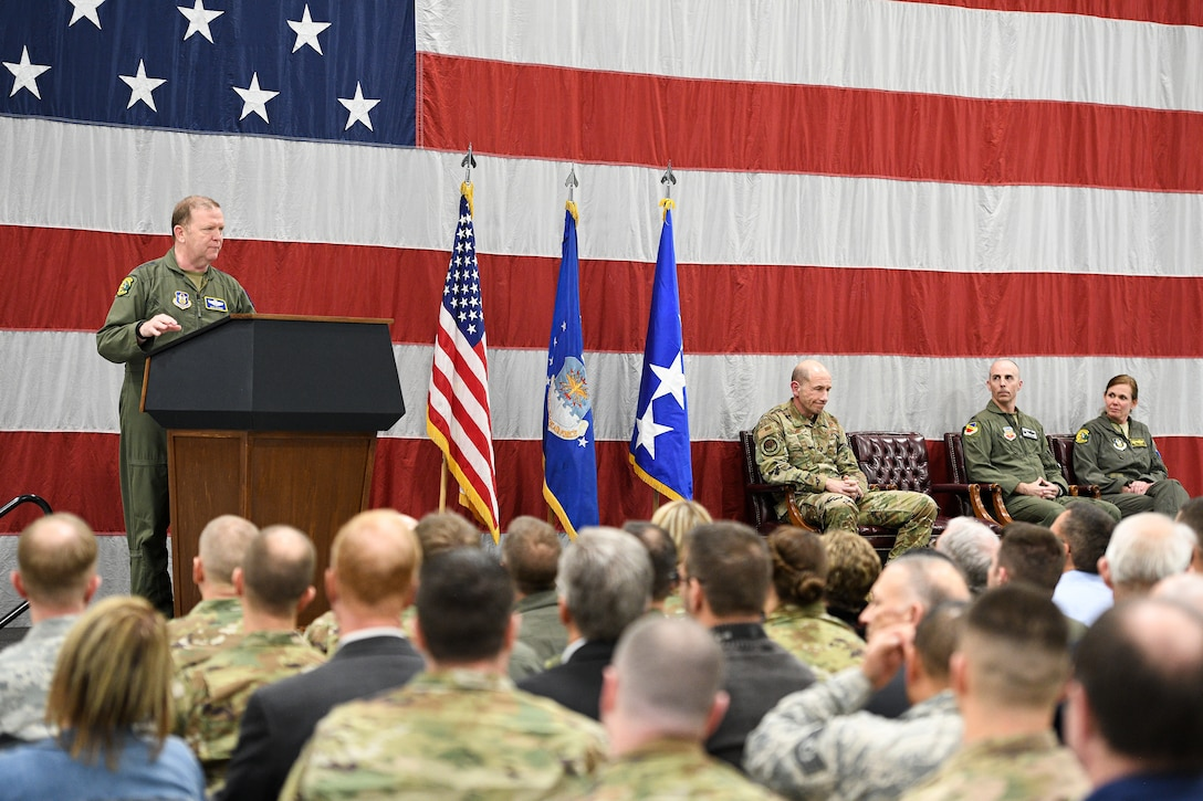 Lt. Gen. Richard W. Scobee, Air Force Reserve Command commander and chief of Air Force Reserve, speaks at a Full Warfighting Capability Ceremony at Hill Air Force Base