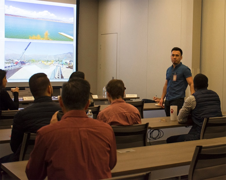 University of New Mexico student Jose Hernandez introduces himself during a STEM outreach event hosted by the U.S. Army Corps of Engineers-Albuquerque District at the USACE-Albuquerque District headquarters office, Feb. 20, 2020.