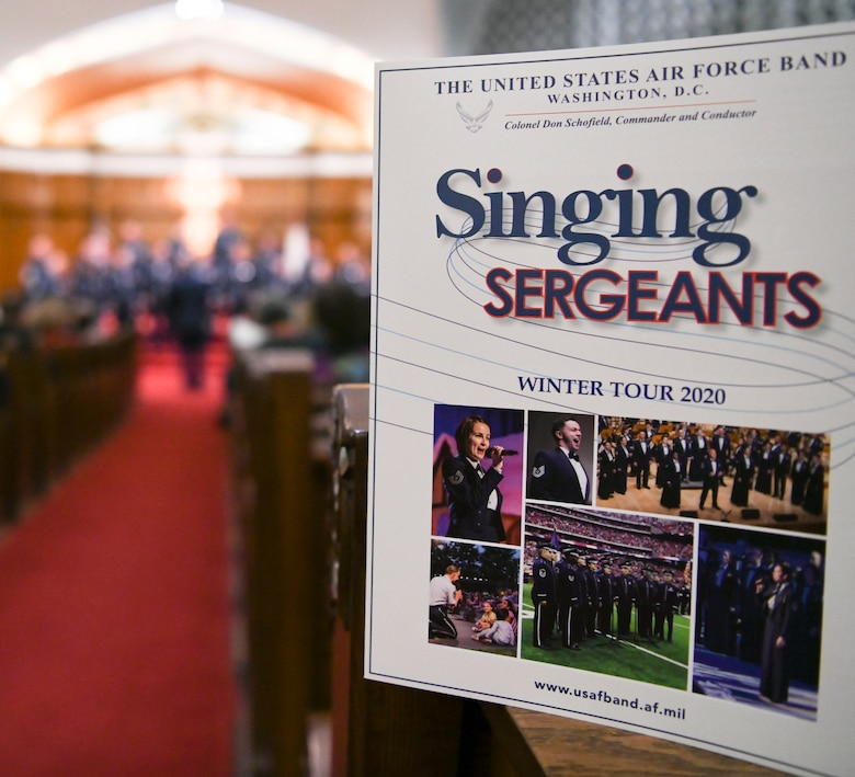 A U.S. Air Force Band Singing Sergeants winter tour program is displayed during a concert in Redlands, Ca., Feb. 14, 2020. The tour took the band to eight different locations where they performed various songs from their vast repertoire; the program outlines each performance. (U.S. Air Force photo by Airman 1st Class Spencer Slocum)