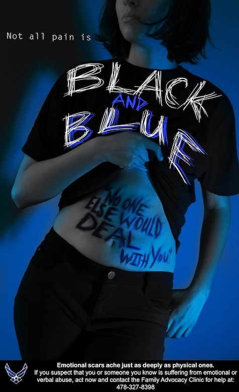 """Photo illustration has a young teen holding shirt up with the words """"No one else would deal with you"""" on the stomach, and the illustration says """"Not all wounds are Black and Blue."""""""