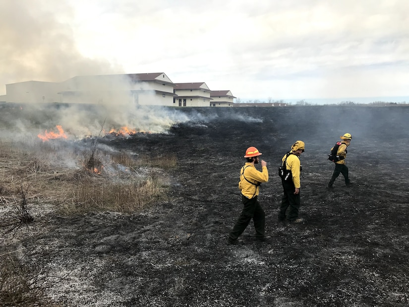 Environmental staff and contractors assigned to Fort Custer Training Center (FCTC), Michigan Army National Guard, Augusta, Mich., conduct prescribed burns Oct. 24, 2019. The controlled burn is one way Fort Custer preserves, protects and restores environmental quality and promotes eco-friendly stewardship.