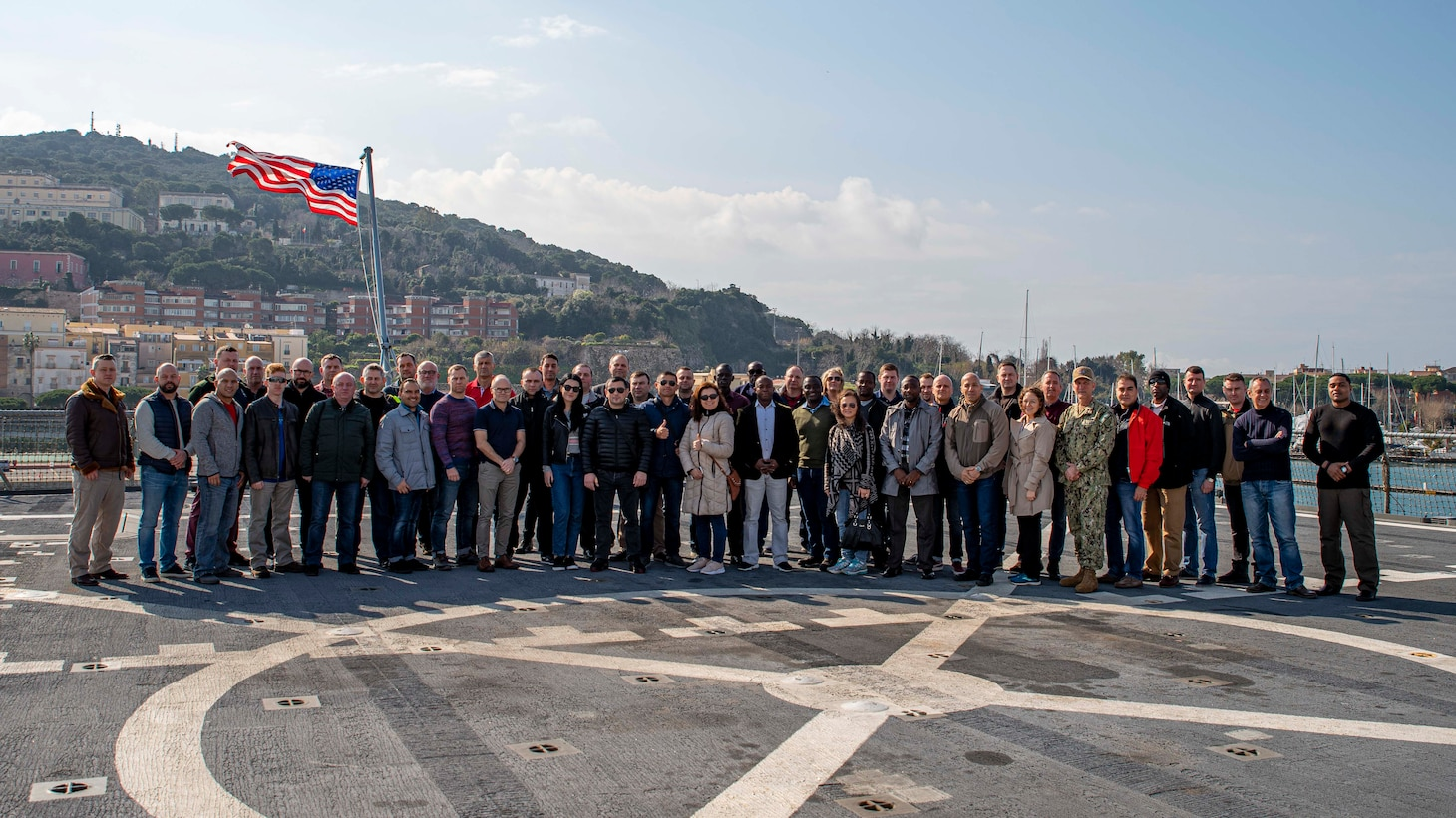 Attendees of the Commander, U.S. Naval Forces Europe, U.S. Naval Forces Africa, and 6th Fleet Fiscal Year 2020 Senior Enlisted Leadership Symposium pose for a photo aboard the Blue Ridge-class command and control ship USS Mount Whitney (LCC 20) in Gaeta, Italy, Feb. 19, 2020. Mount Whitney is the U.S. 6th Fleet flagship, homeported in Gaeta, and operates with a combined crew of U.S. Sailors and Military Sealift Command civil service mariners.