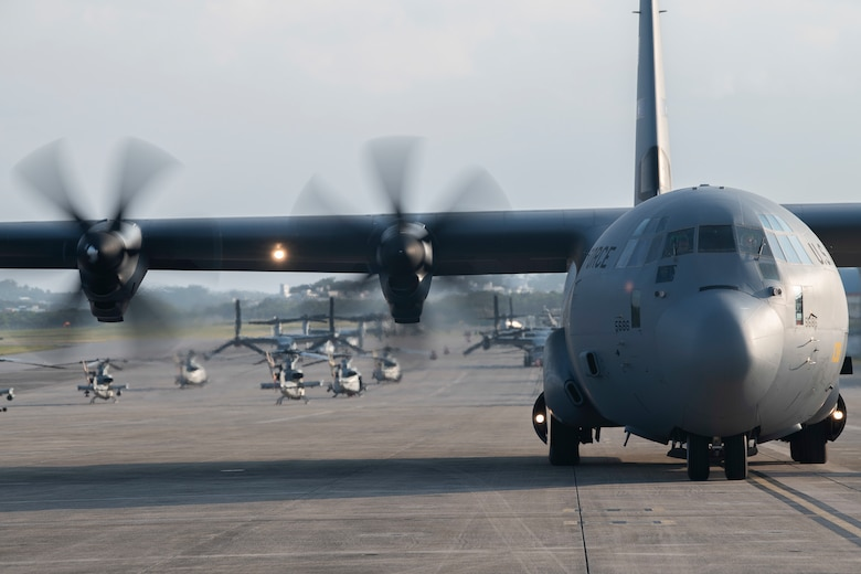 A U.S. Air Force C-130J Super Hercules, from Dyess Air Force Base, Texas, taxis to a parking spot during an Agile Combat Employment exercise Feb. 21, 2020, at Marine Corps Air Station Futenma, Japan. Exercises that utilize ACE concepts ensure forward-deployed forces in the Indo-Pacific are ready to protect and defend partners, allies and U.S. interests at a moment's notice. (U.S. Air Force photo by Senior Airman Rhett Isbell)