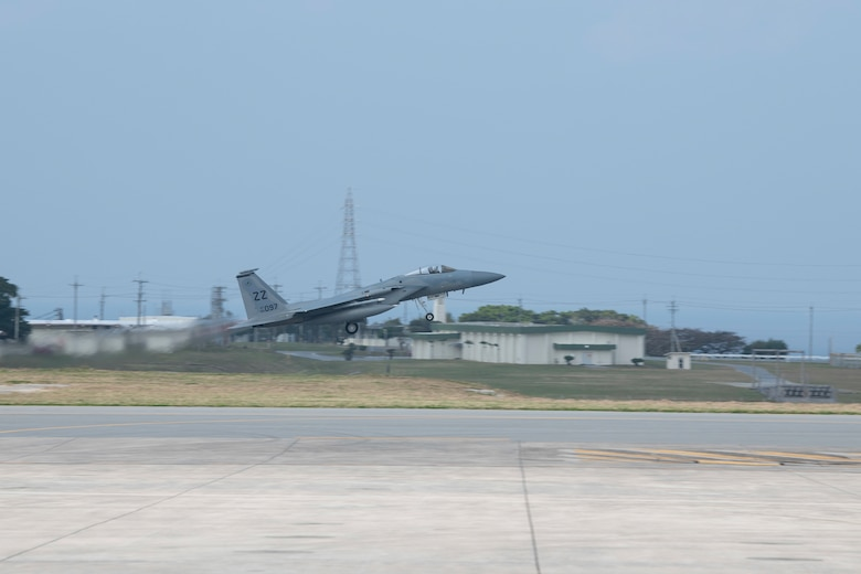 A U.S. Air Force F-15C Eagle, from Kadena Air Base, Japan, takes off during an Agile Combat Employment exercise Feb. 21, 2020, at Marine Corps Air Station Futenma, Japan. Exercises that utilize ACE concepts ensure forward-deployed forces in the Indo-Pacific are ready to protect and defend partners, allies and U.S. interests at a moment's notice. (U.S. Air Force photo by Senior Airman Rhett Isbell)