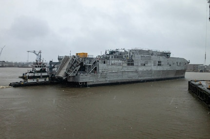 The U.S. Navy's 12th Expeditionary Fast Transport (EPF) vessel, the future USNS Newport (EPF 12), was launched at Austal USA's shipyard in Mobile, Alabama, Feb. 20.