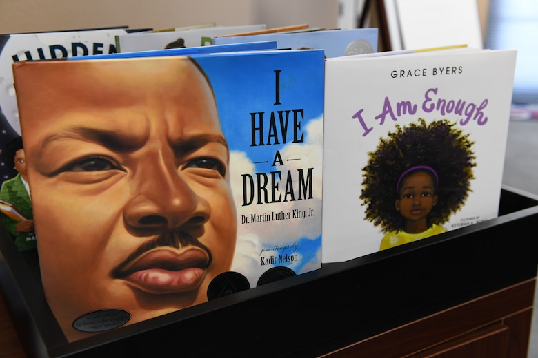 Books are displayed for a Black History Month event at the Youth Center Feb. 12, 2020, at Malmstrom Air Force Base, Mont.