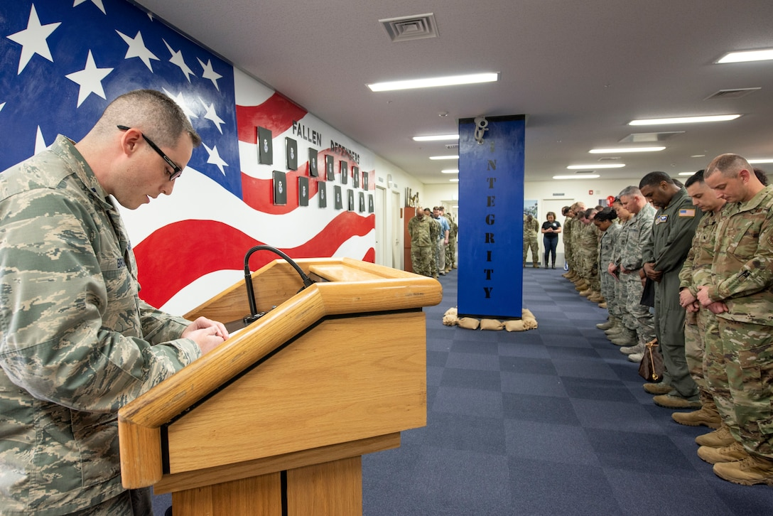 Capt. Lance Brown, 374th Wing Staff Agency chaplain, gives the invocation at a mural unveiling ceremony at Yokota Air Base, Japan, Feb. 21, 2020.