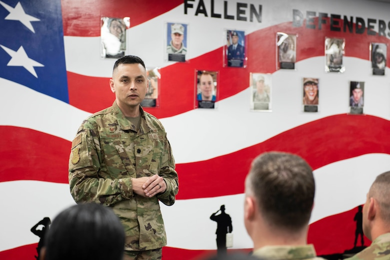 Lt. Col. Jonathan Murray, 374th Security Forces Squadron commander, gives a speech during a mural unveiling ceremony at Yokota Air Base, Japan, Feb. 21, 2020.