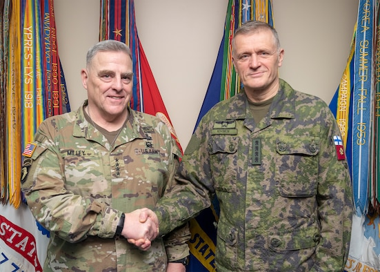 Chairman of the Joint Chiefs of Staff Gen. Mark A. Milley meets with commander of the Finnish Defense Forces Gen. Timo Kivinen Feb. 25, 2020 in the Pentagon, Washington, D.C.
