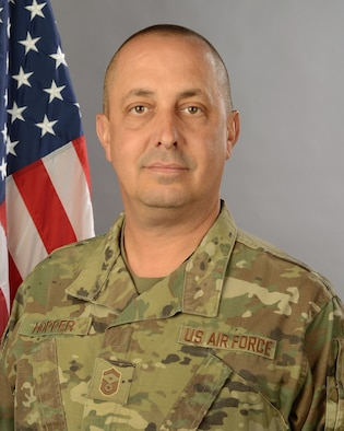 Portrait of U.S. Air Force Senior Master Sgt. Jeffrey Hopper, first sergeant assigned to the 169th Aircraft Maintenance Squadron at McEntire Joint National Guard Base, S.C., February 7, 2020.