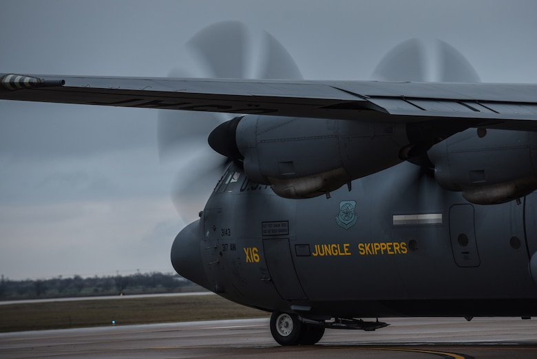 A C-130J Super Hercules assigned to the 317th Airlift Wing taxis before takeoff at Dyess Air Force Base, Texas, Feb. 12, 2020.