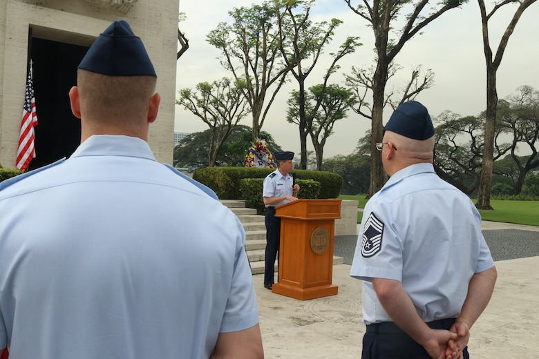 Col. Jeffrey Menasco, 317th Airlift Wing commander, gives a speech during the 75th anniversary of the retaking of Corregidor Island ceremony at the Manila American Cemetery in Manila, Philippines, Feb. 17, 2020.