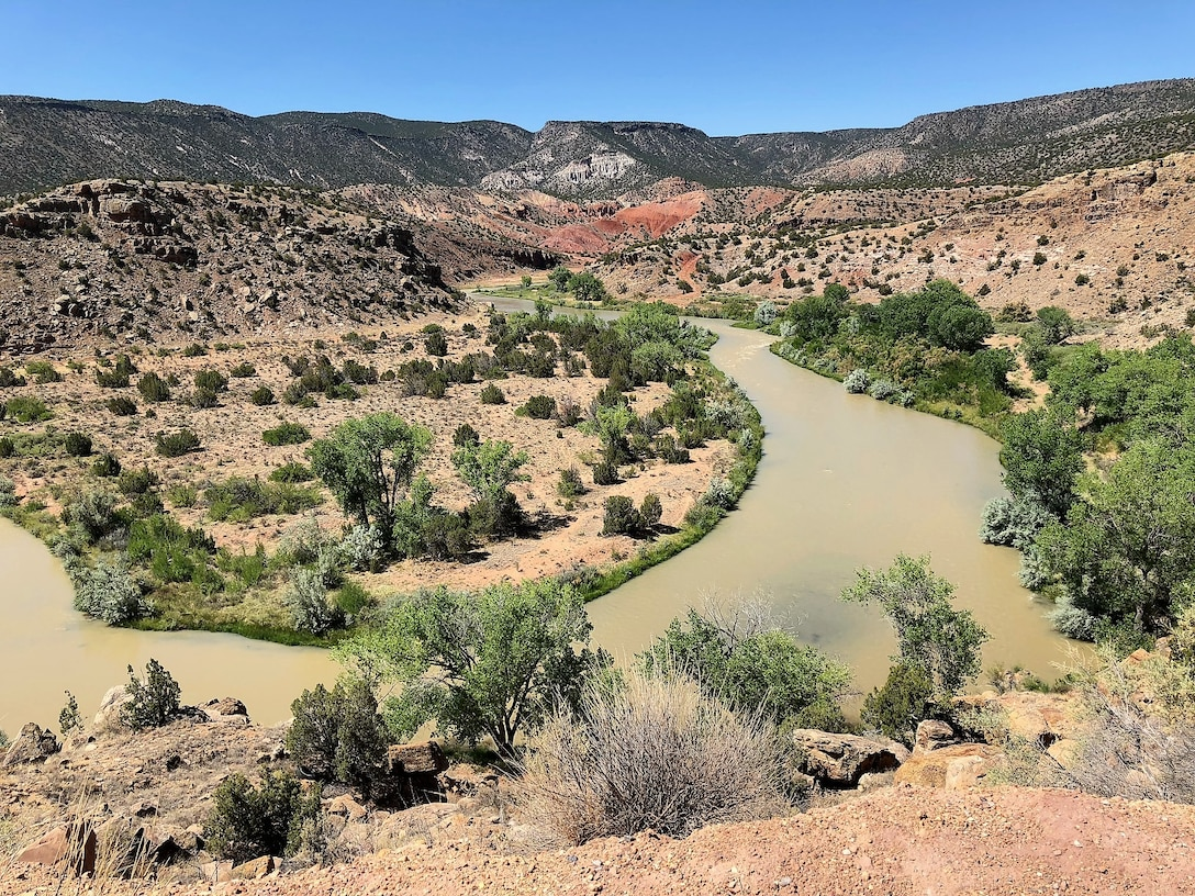 ABIQUIU LAKE, N.M. -- Oxbow in the Rio Chama, just downstream from Abiquiu Dam, June 24, 2018. Photo by Mike Goodrich, program manager in the Planning, Project & Program Management Division..