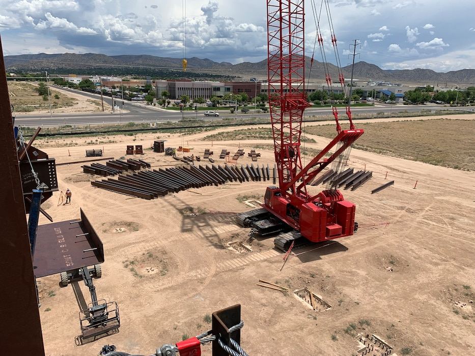 "The ""crane and bone yard"" at the NNSA Albuquerque Complex Project site, July 1, 2019. Photo by Garry Vollbrecht."