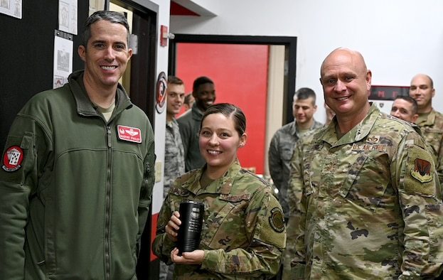U.S. Air Force Airman 1st Class Kayla Provenzano, 77th Fighter Generation Squadron aerospace propulsion journeyman, is recognized as the Weasel of the Week (WoW) at Shaw Air Force Base, South Carolina, Feb. 24, 2020.