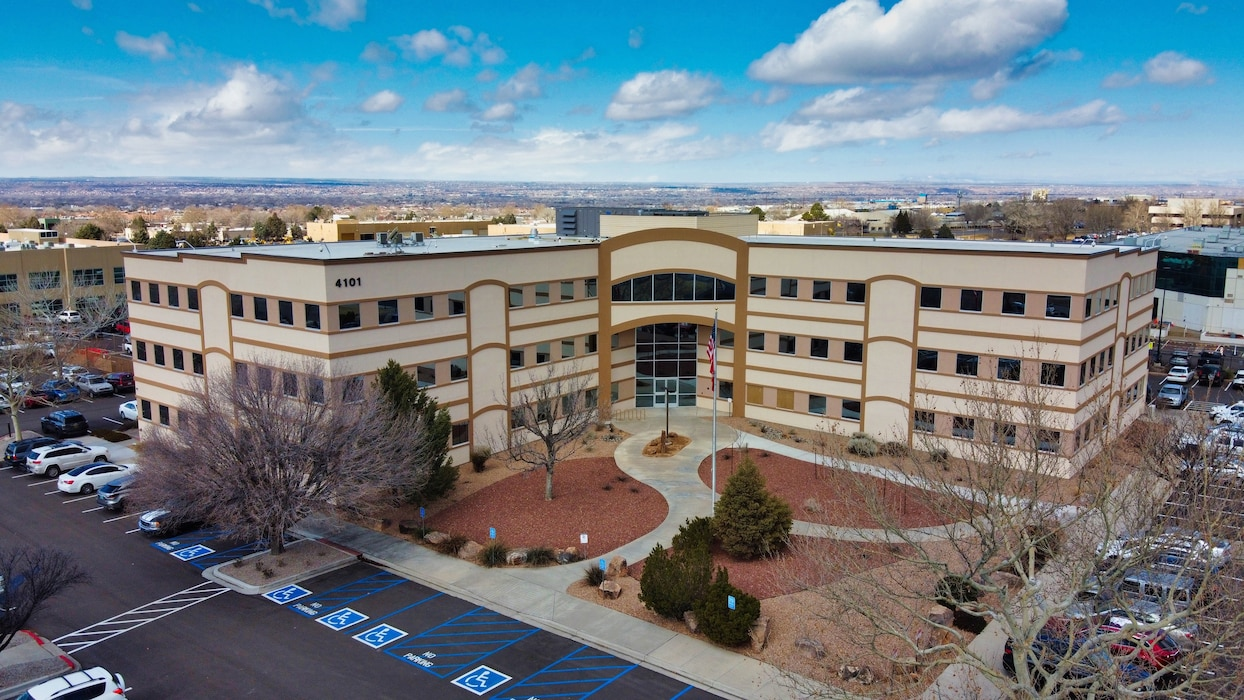 View of the remodeled Albuquerque District office building, Feb. 12, 2020, as seen from a drone. Photo by David Abbott.